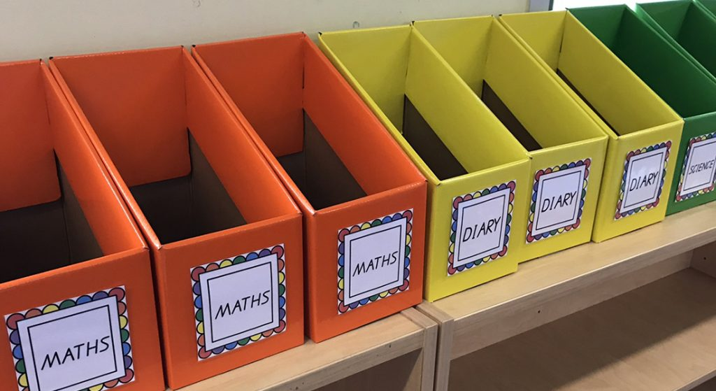 book boxes made from cardboard are great for storage within the classroom