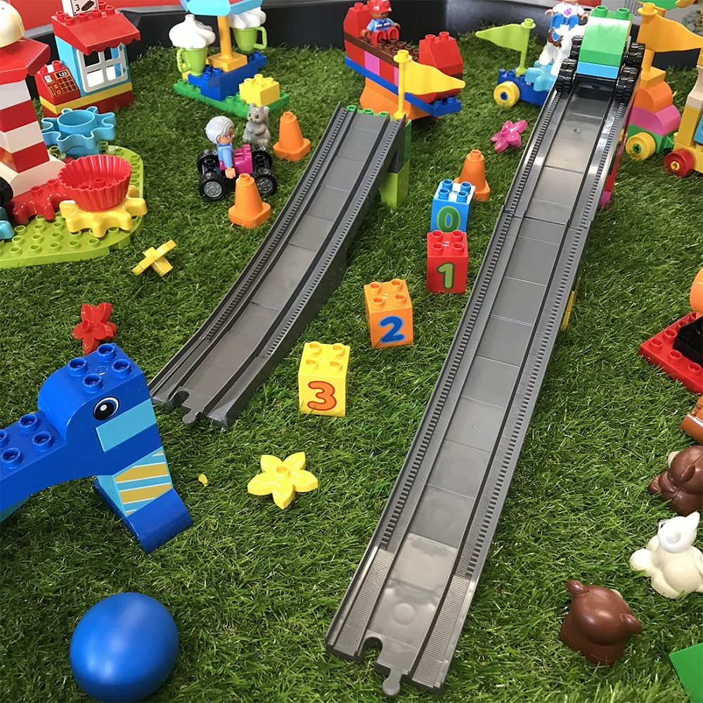 LEGO Steam Park track placed in Active World Tray