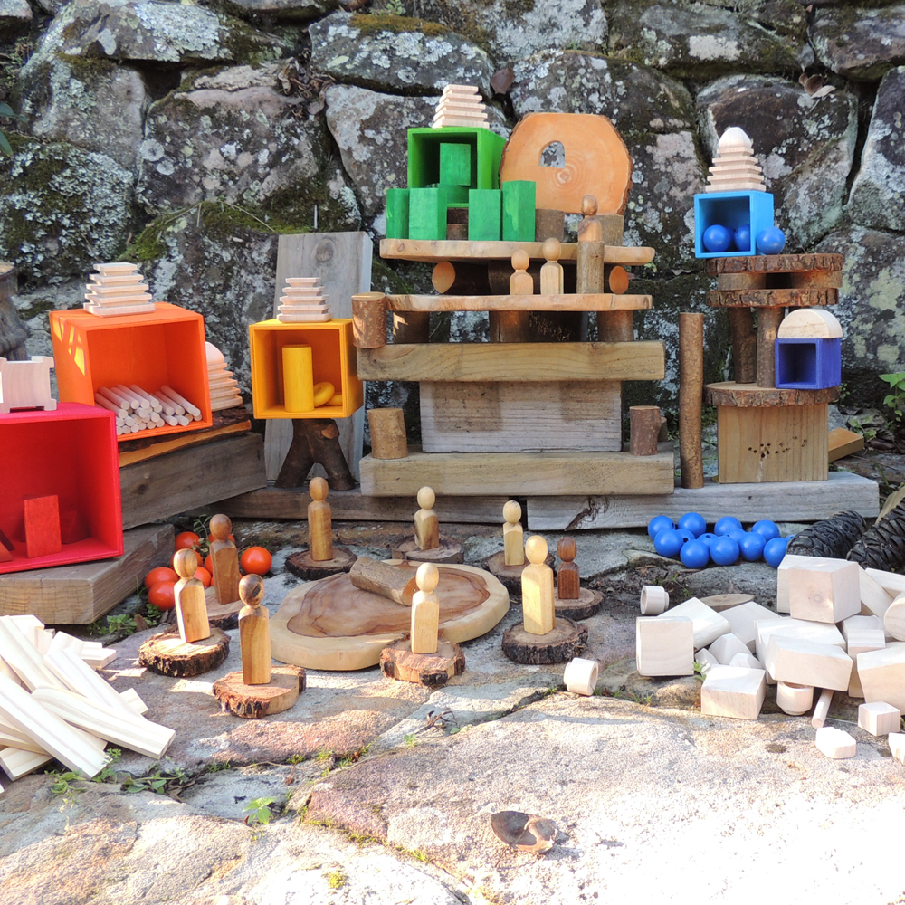 Loose parts used to create a world environment