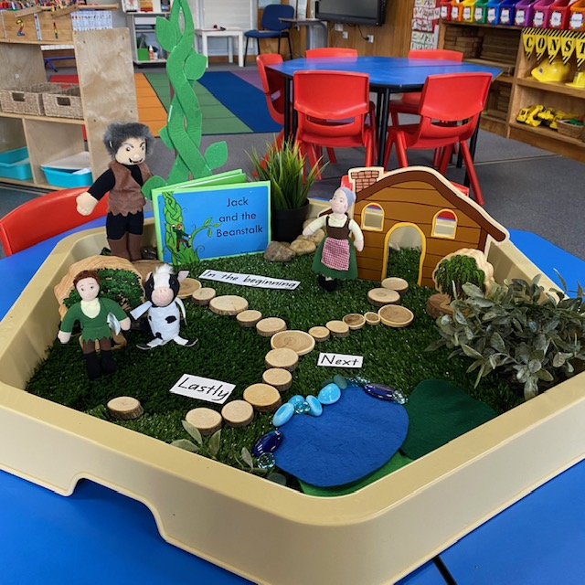 Jack and the Beanstalk Hex tray activity featuring book blocks and doll