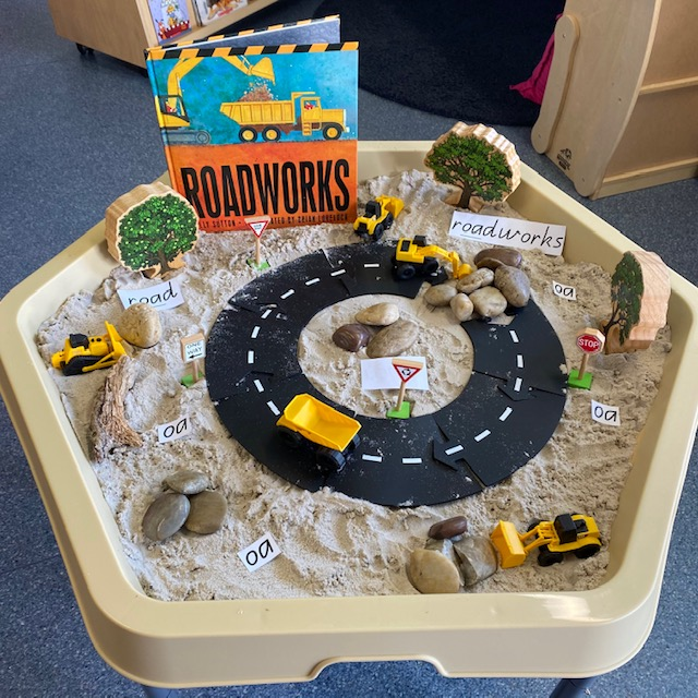 Roadworks Hex Tray activity featuring book digger cars sand and construction themed blocks