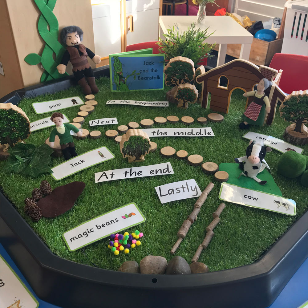 Jack and the Beanstalk active world tray activity featuring book blocks and doll