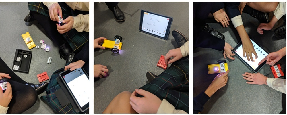 3 photos of students participating in a sam labs coding activity on the ground