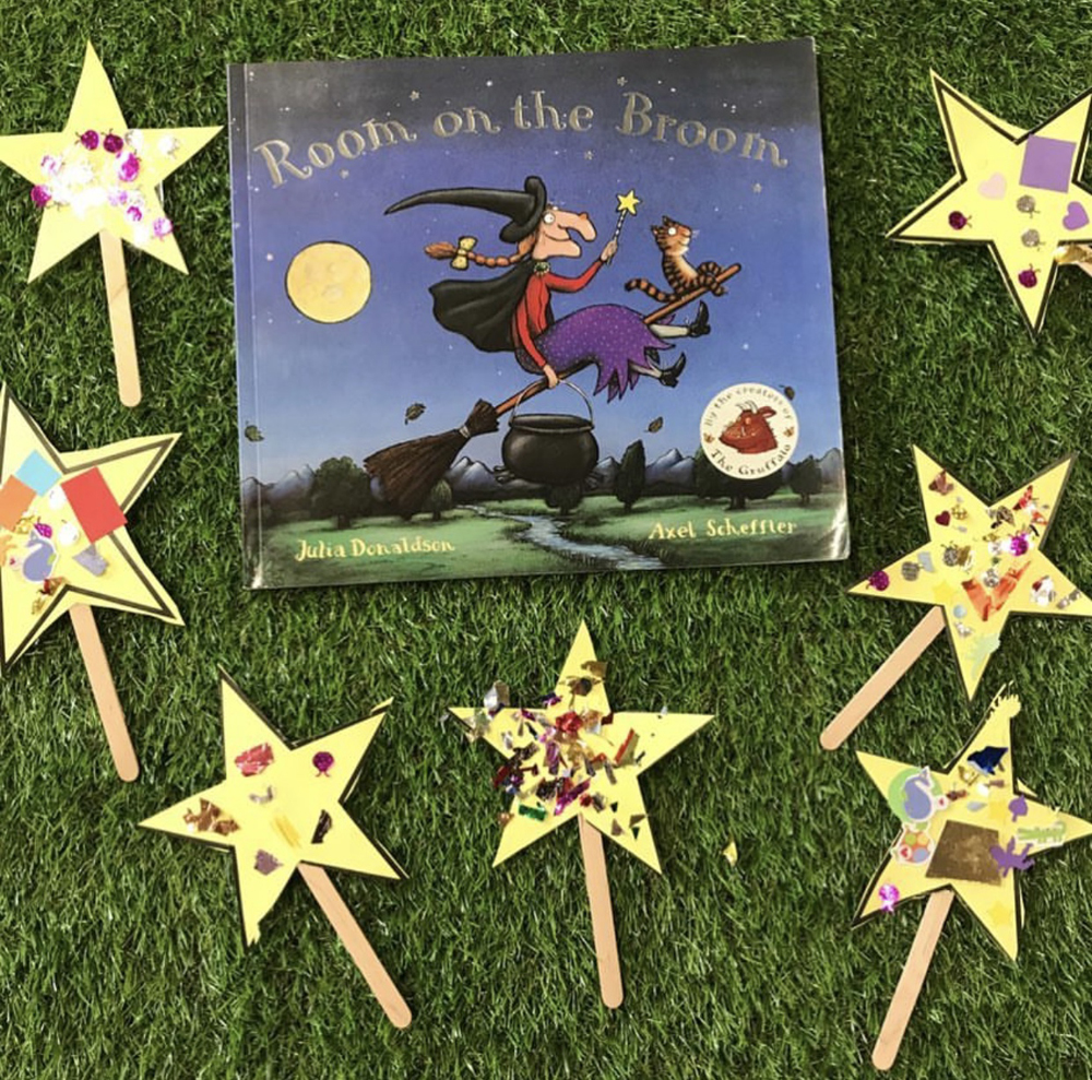 Room on the Broom book written by Julia Donaldson used to inspire children to craft their own magic wands