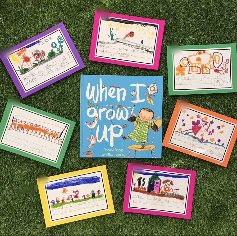 When I grow up book surrounded by children's pictures of what they would like to be when they grow up