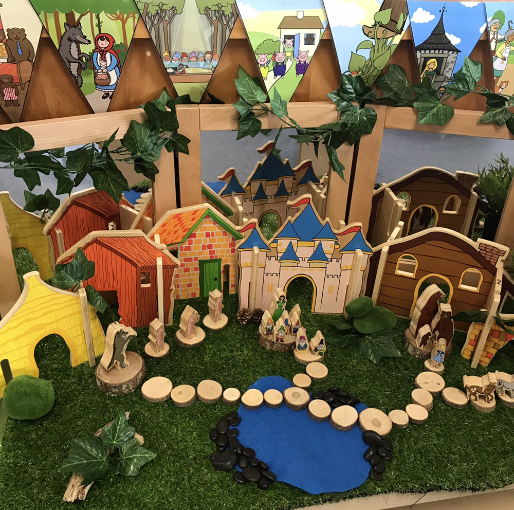 Fairy tale world set up on an active world tray