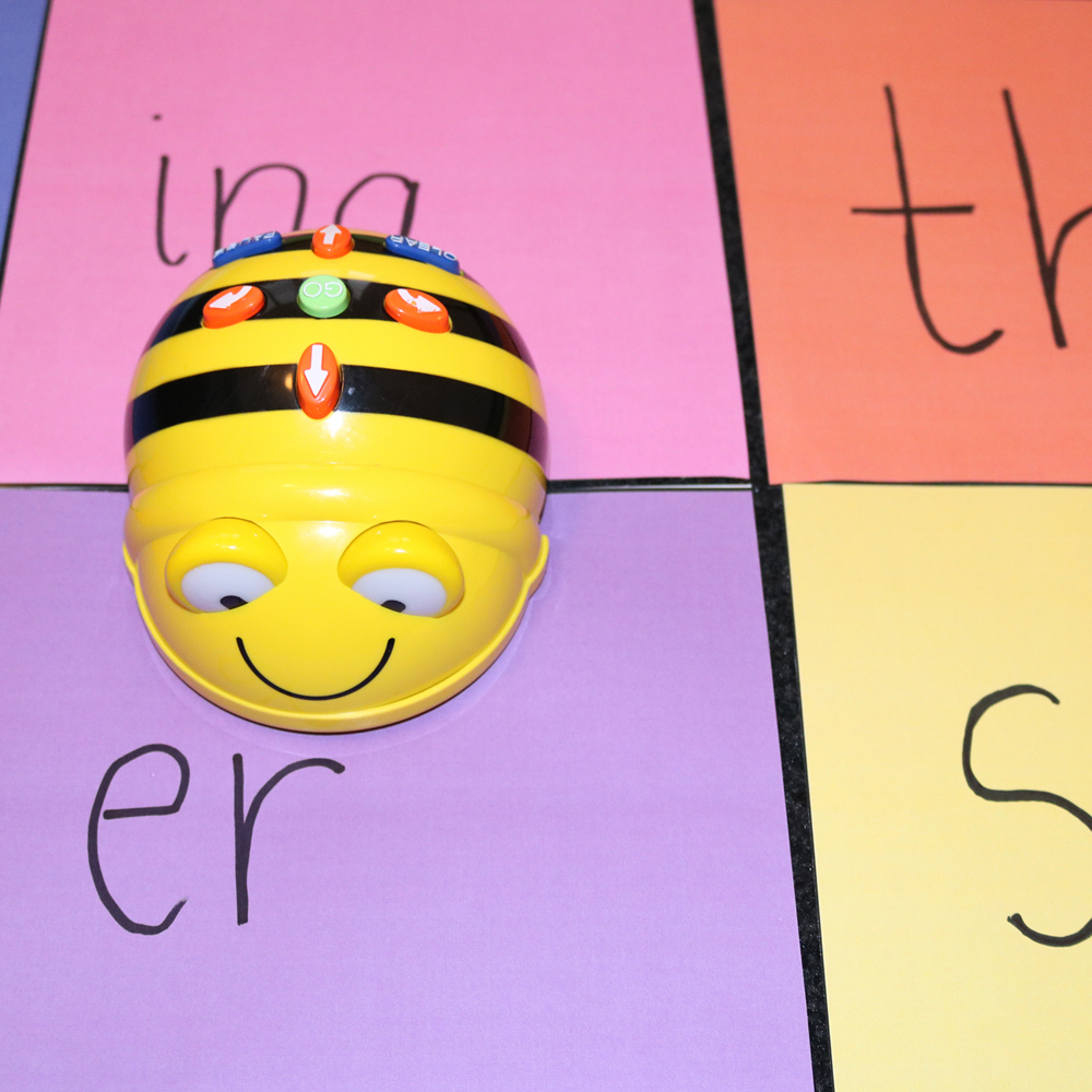 Secret word game with Beebot and word beginnings and endings map