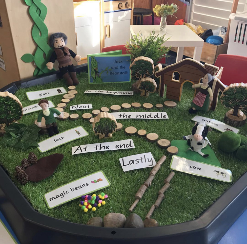 Story telling using active world tray to re-create a story of Jack and the Beanstalk