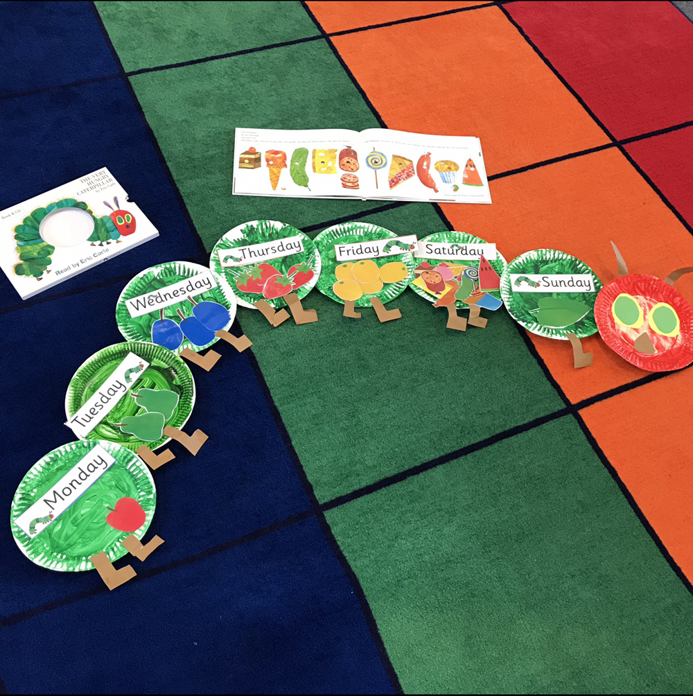 Children created their own caterpillar inspired by the book Very Hungry Caterpillar using coloured cardboard, paint and paper plates