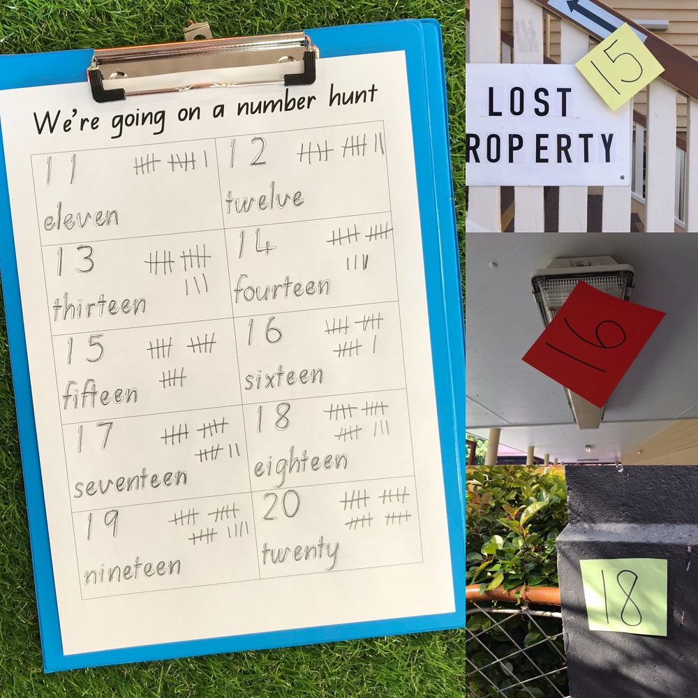 Number Hunt Game on clipboard