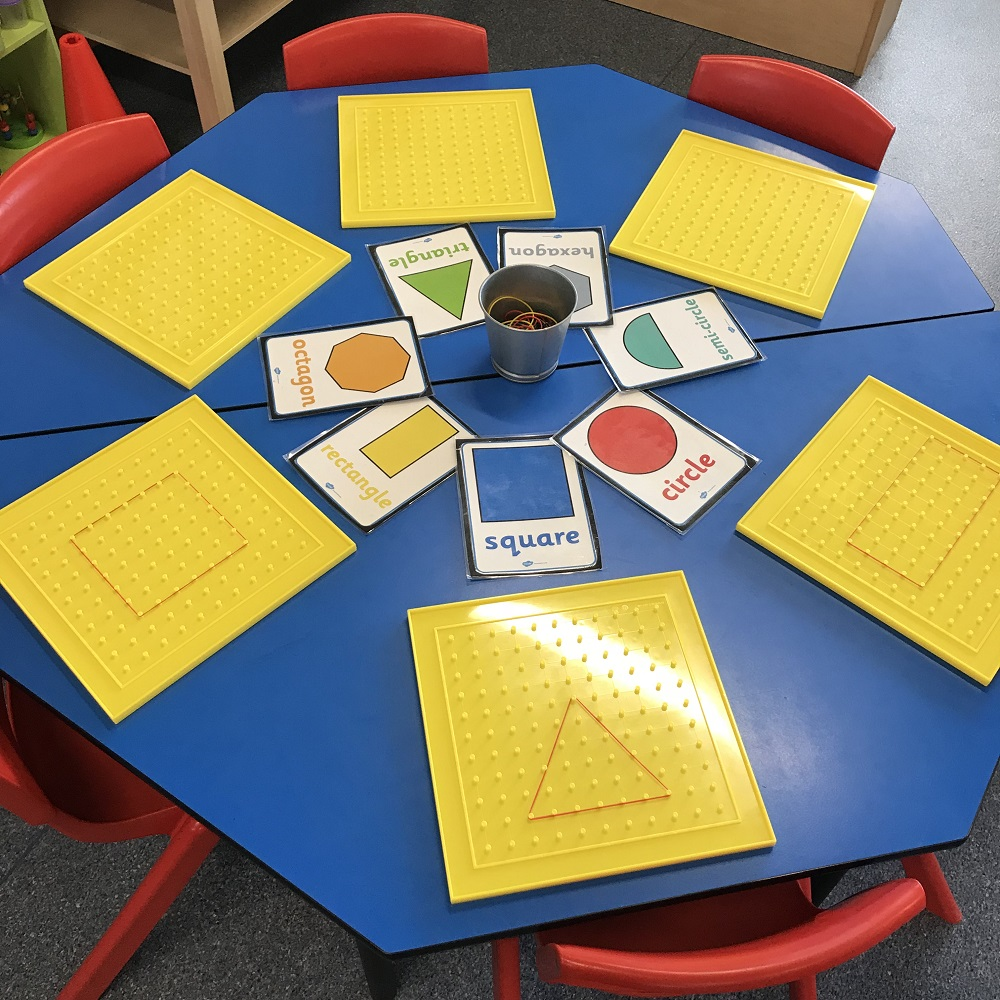 Numeracy Exploring 2d Shapes on School desk