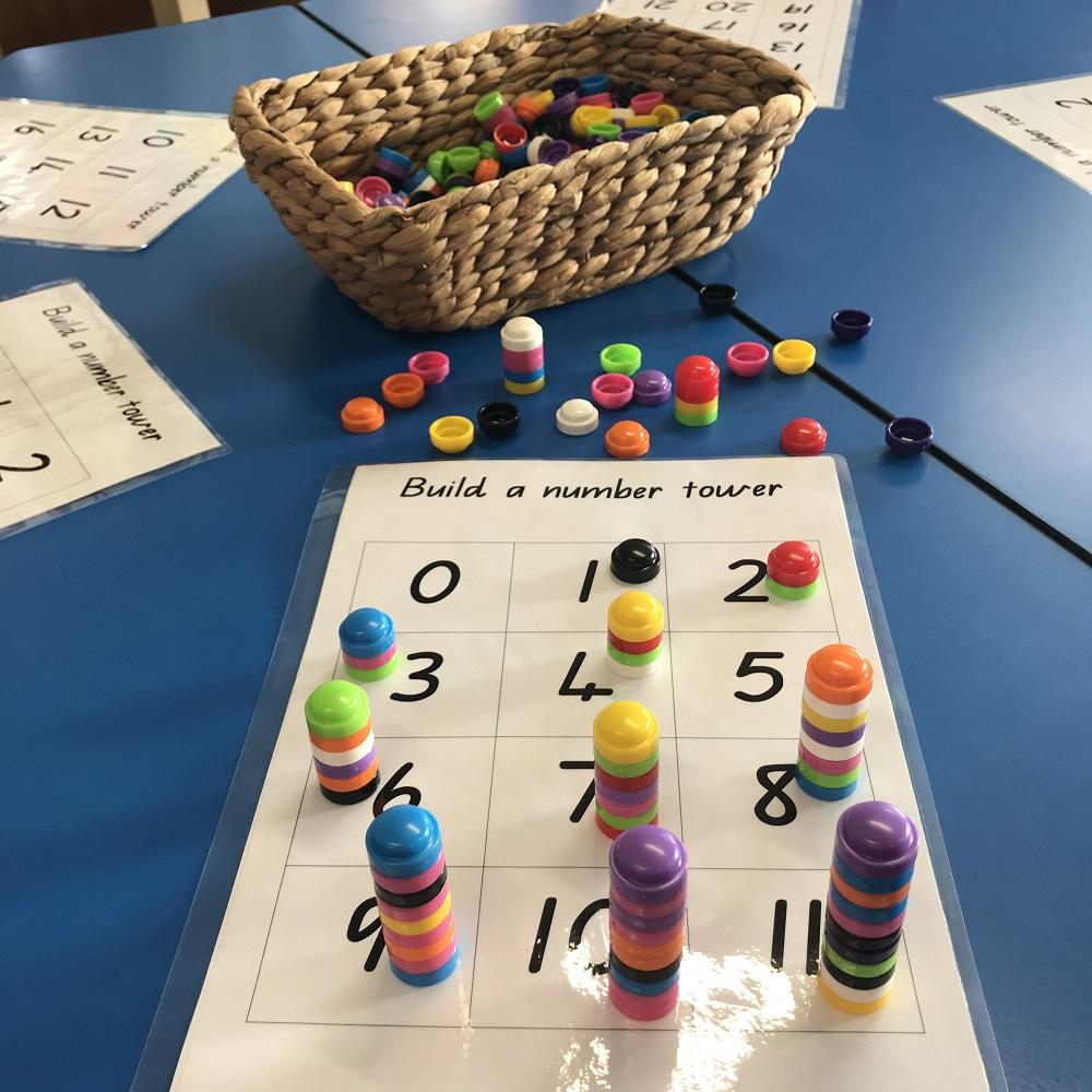 Numeracy Number Towers game on school desk