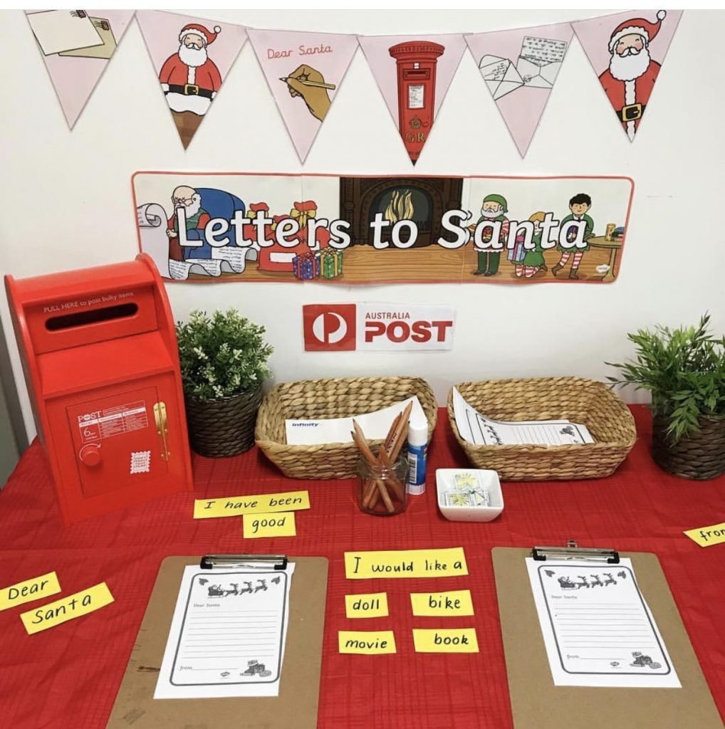 Christmas post office with letters to santa