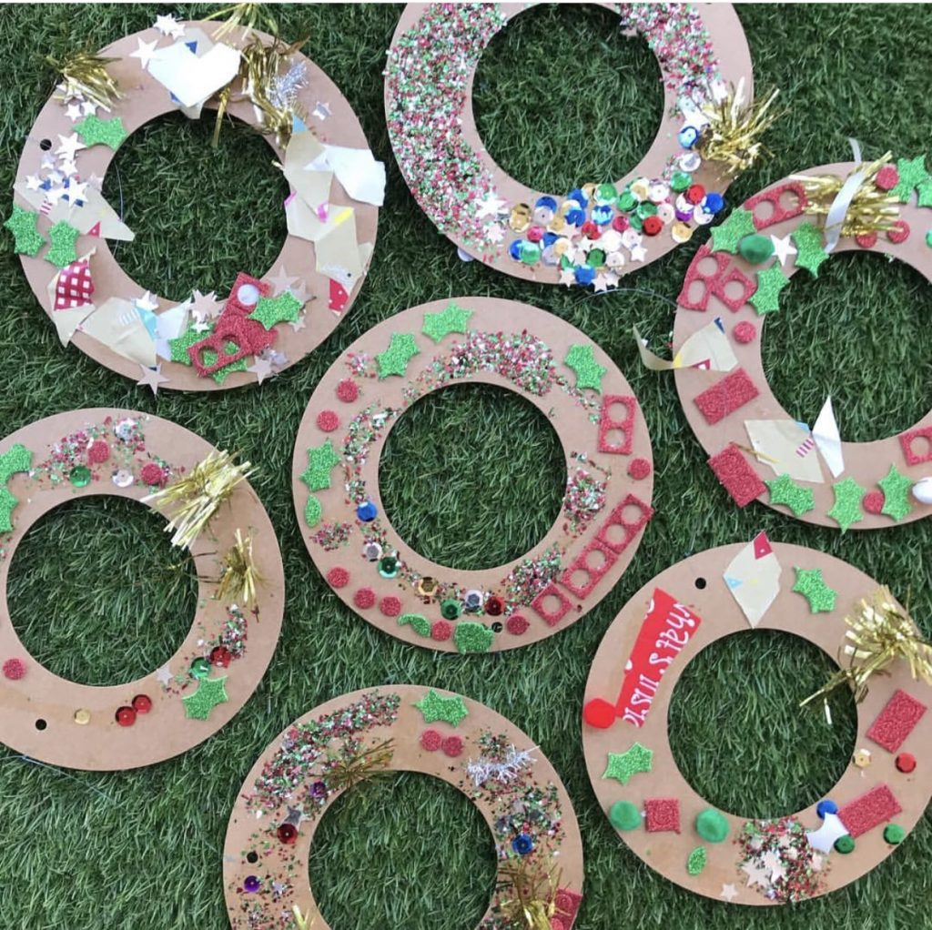 Christmas craft decorated cardboard wreaths