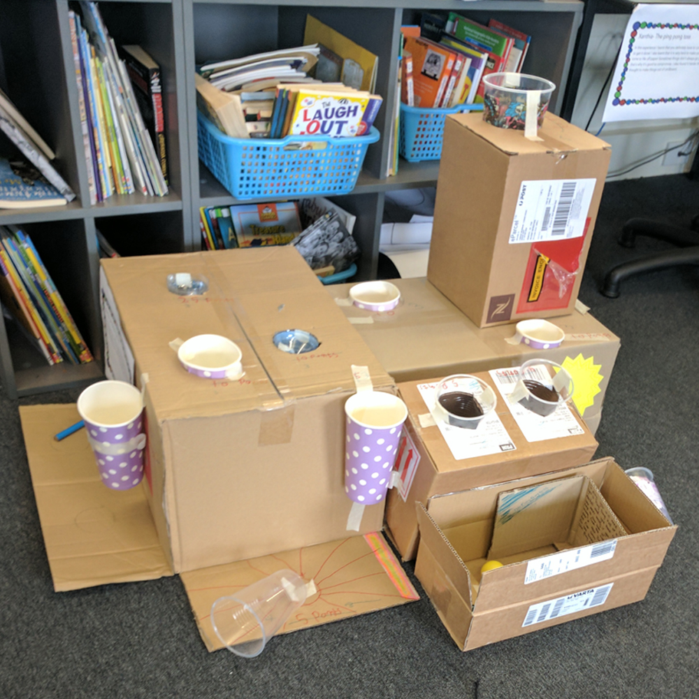 Makerspace caines arcade cardboard construction