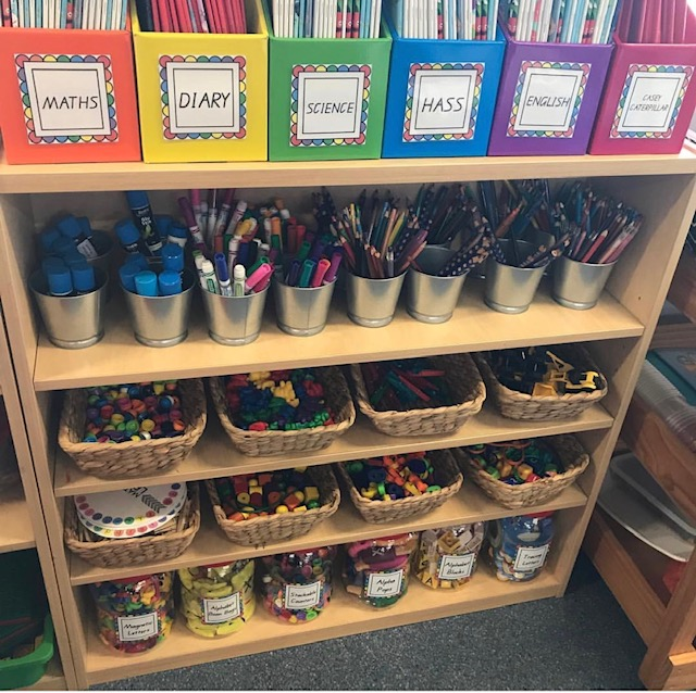 Organised classroom shelves