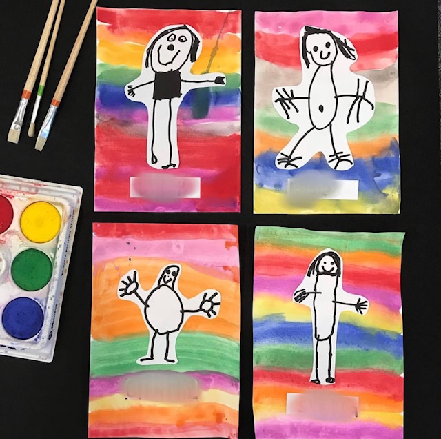 Self portrait classroom activity featuring kids paintings and paint pallet