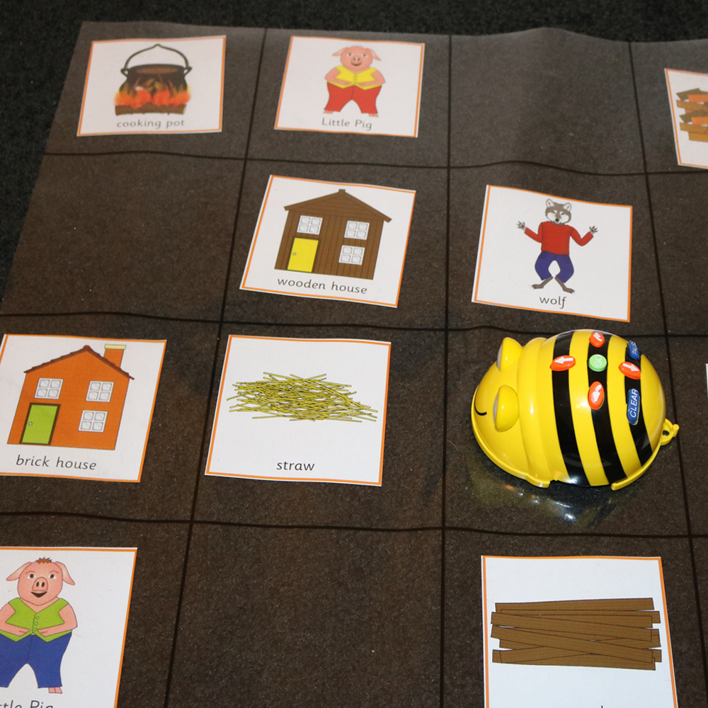 BeeBot 3 little pigs activity with picture cards on grid