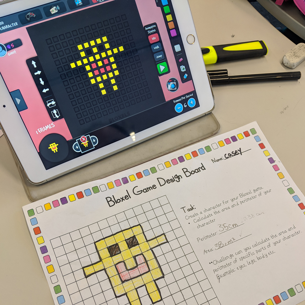 Bloxels maths activity on iPad with task card