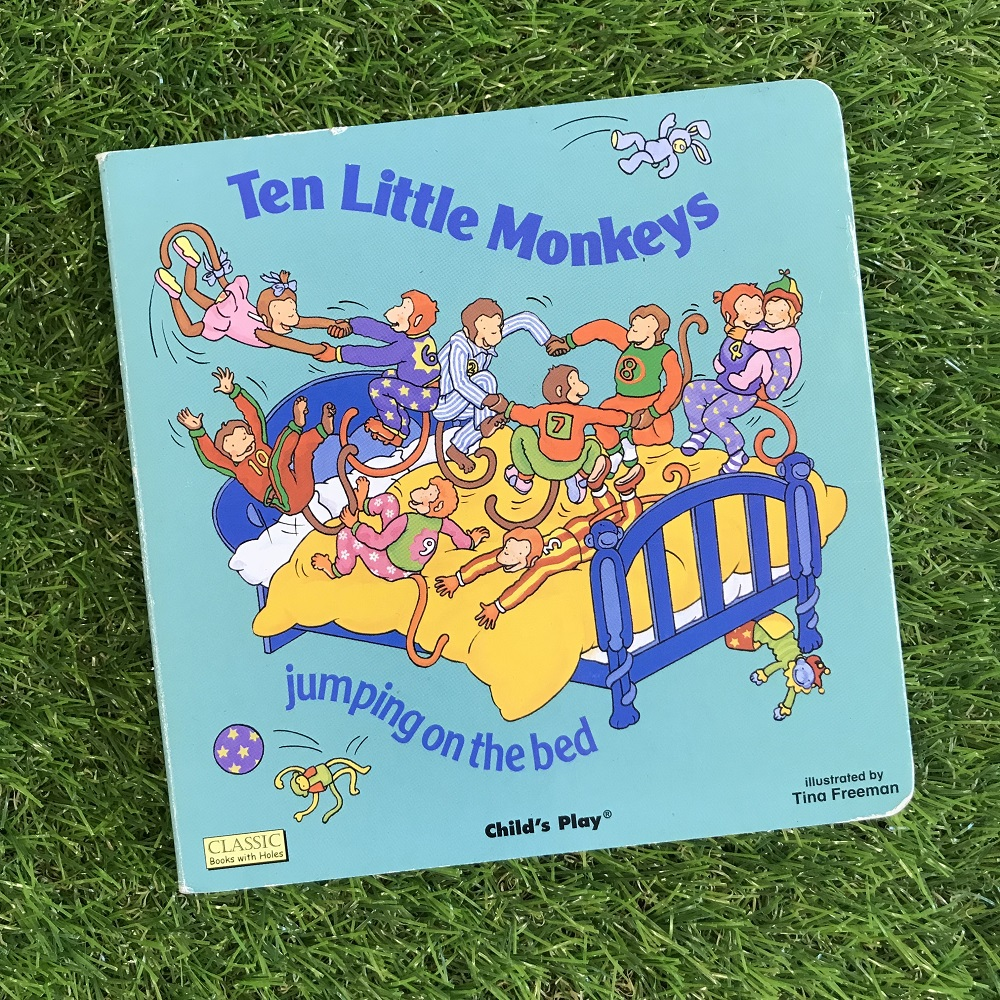 Ten Little Monkeys book on grass