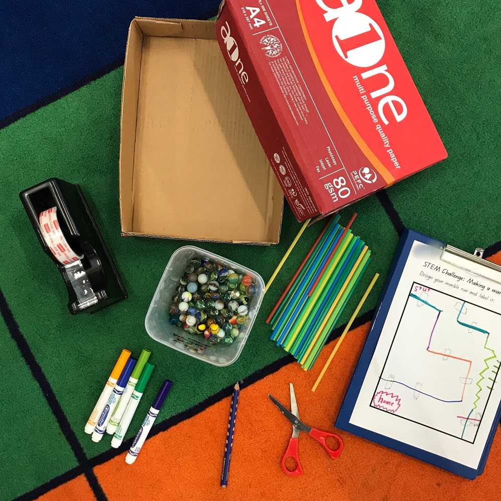 Materials used to create marble maze includes Straws, Marbles, Markers, Sticky tape, Scissors