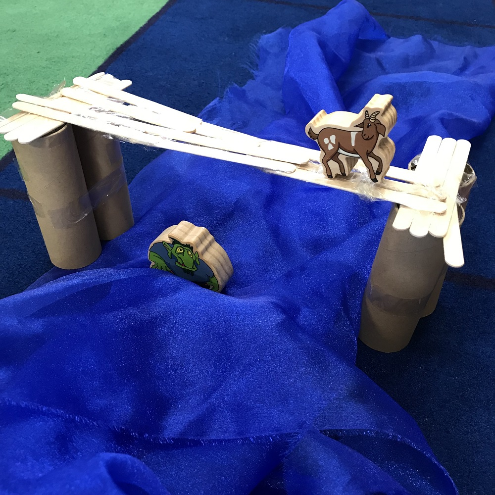 Children tested three billy goats gruff birdge by placing a model goat figure on top