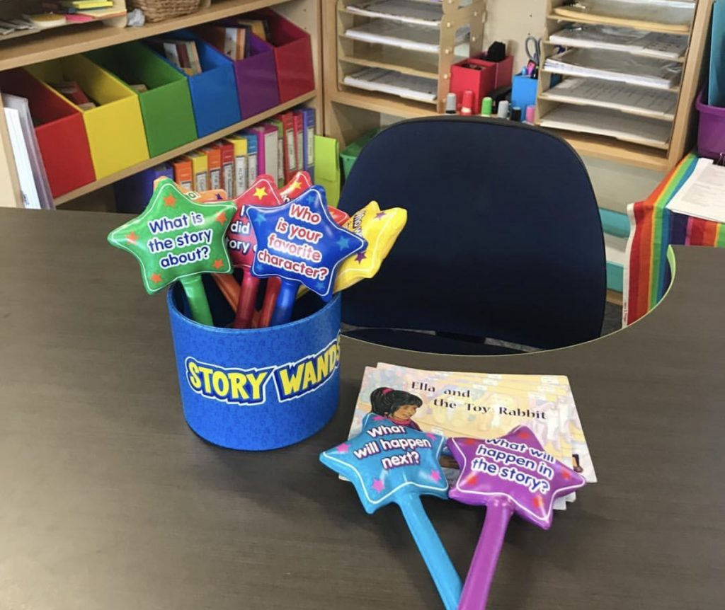 Storywands activity set up on a teachers desk in classroom