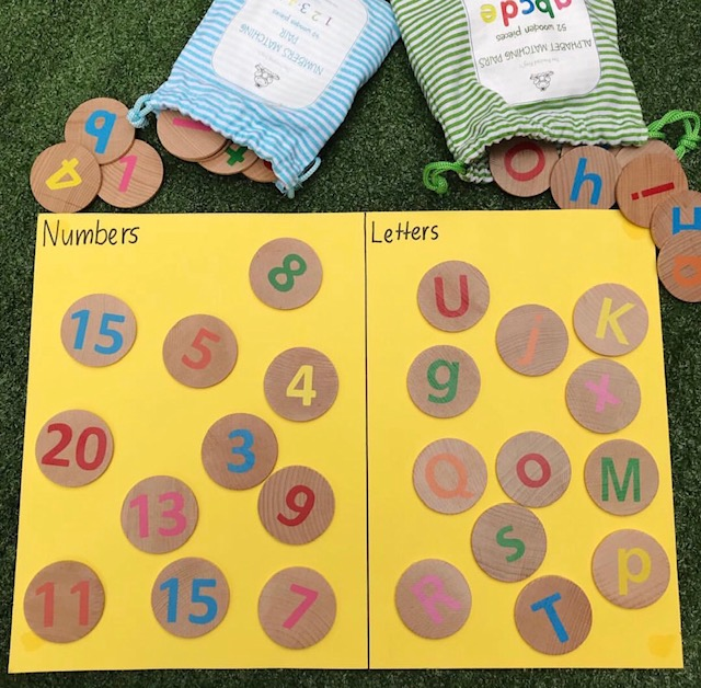 Wooden alphabet and numbers sorting activity