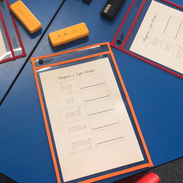 Write and wipe sleeves on desks featuring sight words worksheets