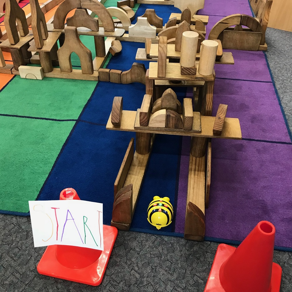 Beebot at the finish line of the wooden block maze