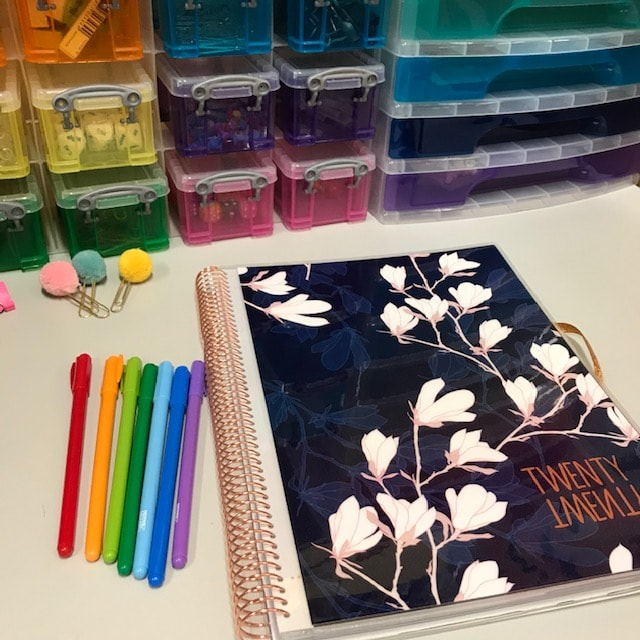 MTA Teacher planner with various coloured pens and organised stationery.