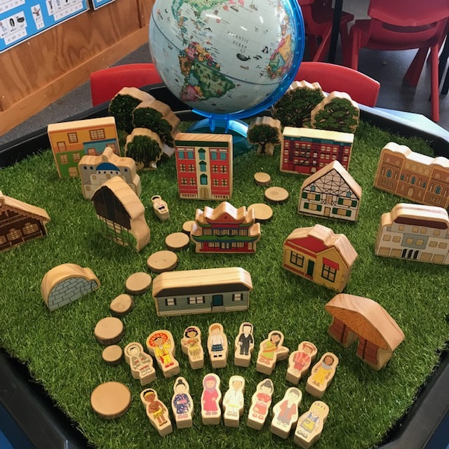 Homes around the world on grass featuring globe
