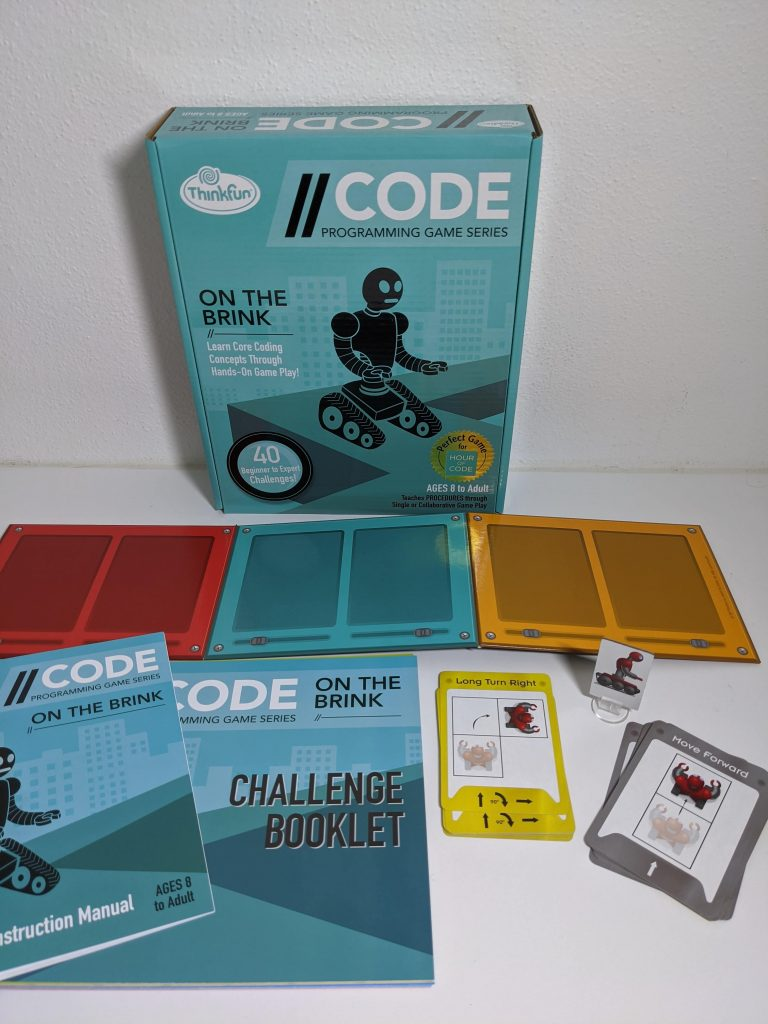On the Brink Coding Game challenge booklet and box spead out on table