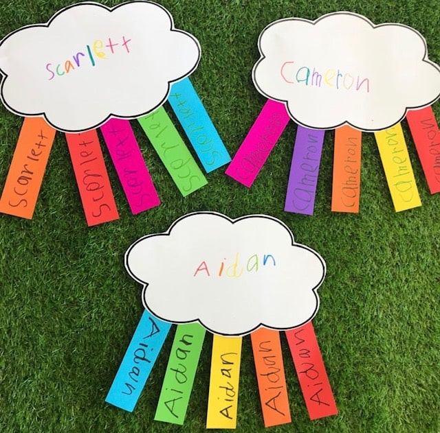 Rainbow names activity featuring clouds cut out of card with matching colourful name tags