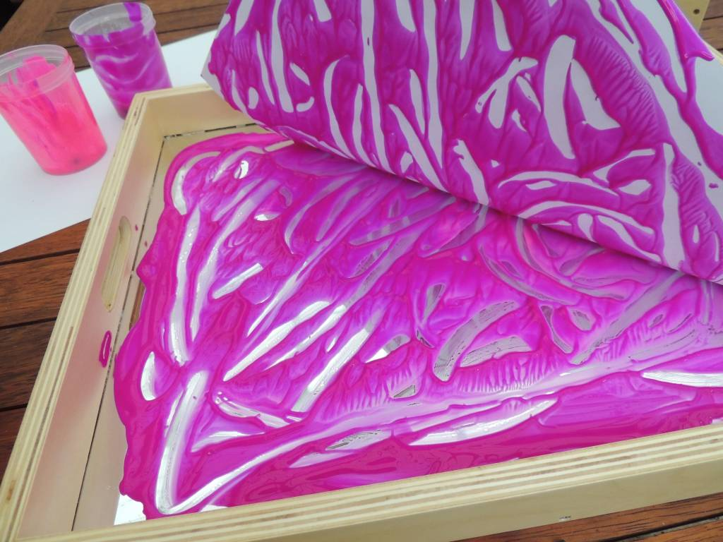 Mirrors and Reflections pink paint printing activity