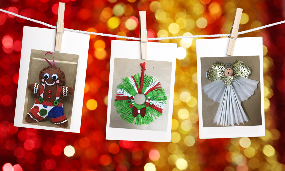 Christmas Craft images hanging on string with pegs with Christmas themed background