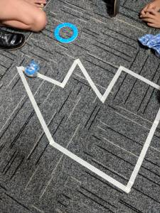Sphero Angles and Shapes activity. Track on floor.