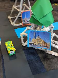 Sphero Integrated learning activity. Structure & bus made from newspapers. 2 Pictures of Melbourne landmarks
