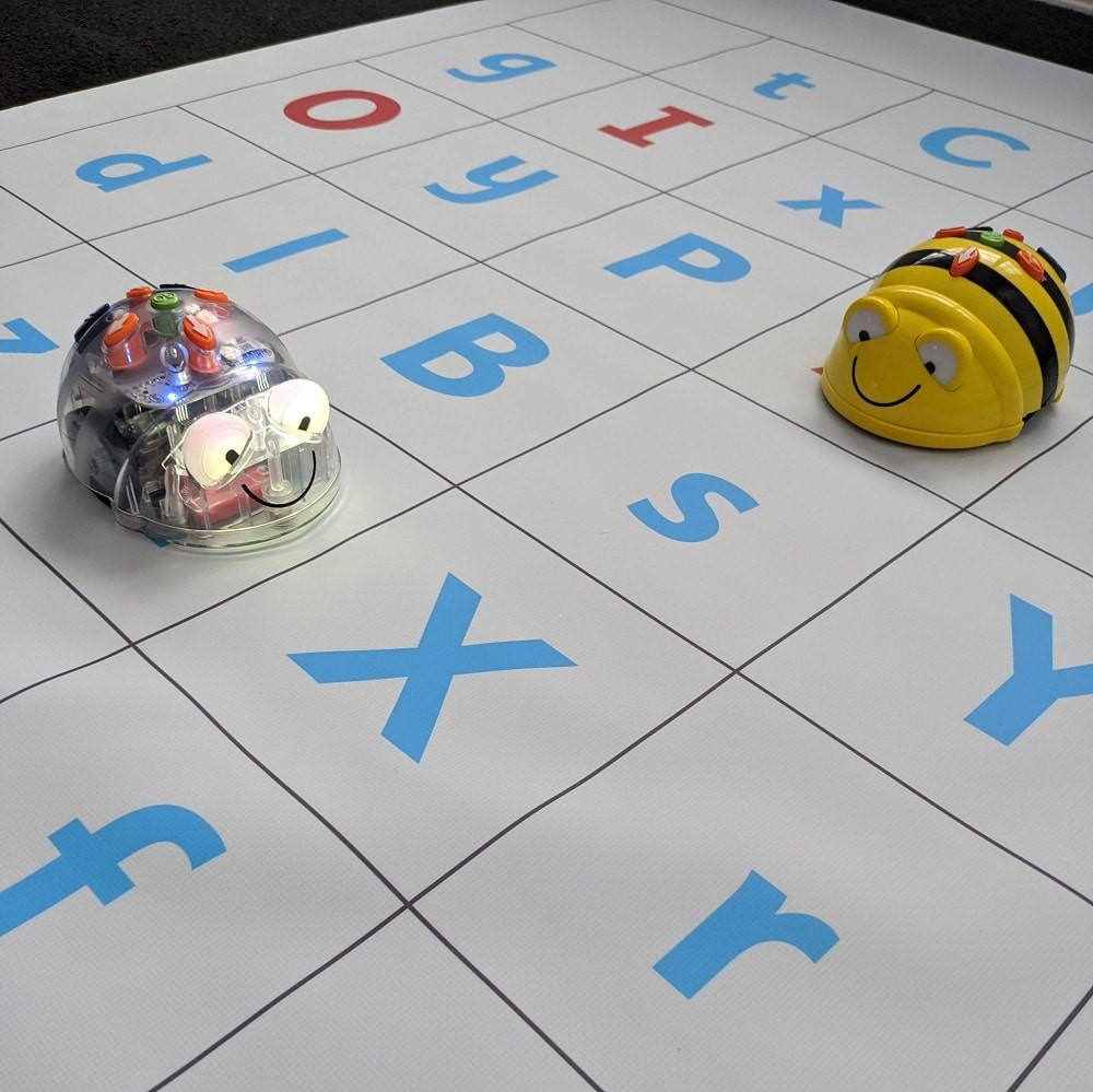 Alphabet coding mat with Beebot and Bluebot