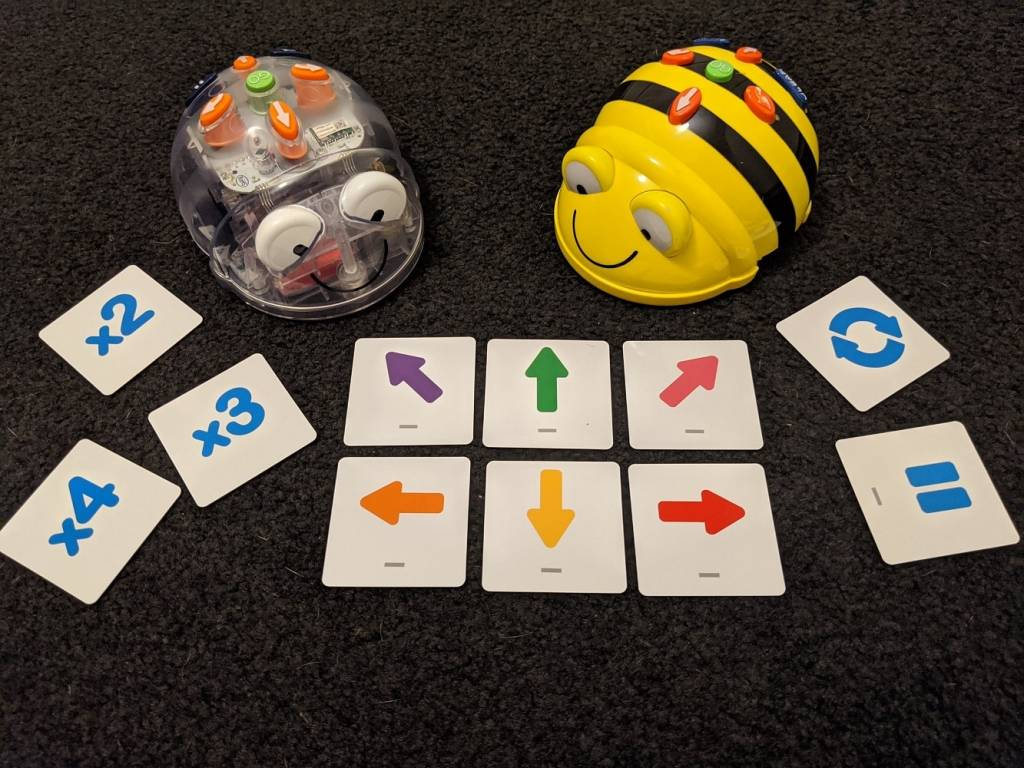 Beebot and Bluebot with Robotics coding cards