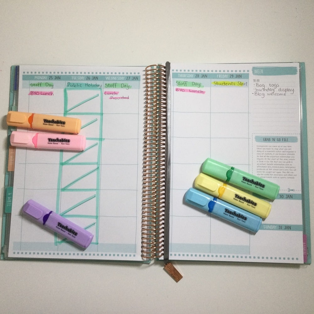 2021 Teacher Planner Open Spread with Pastel Highlighters