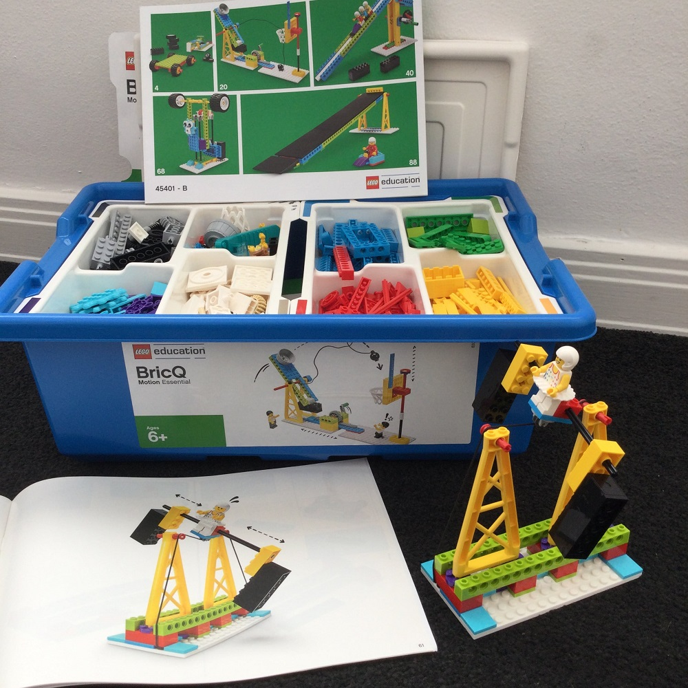 Lego Education BricQ box with model and instruction cards