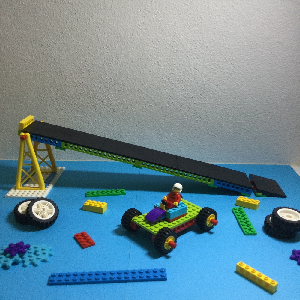 LEGO BricQ Gravity Car Model on table