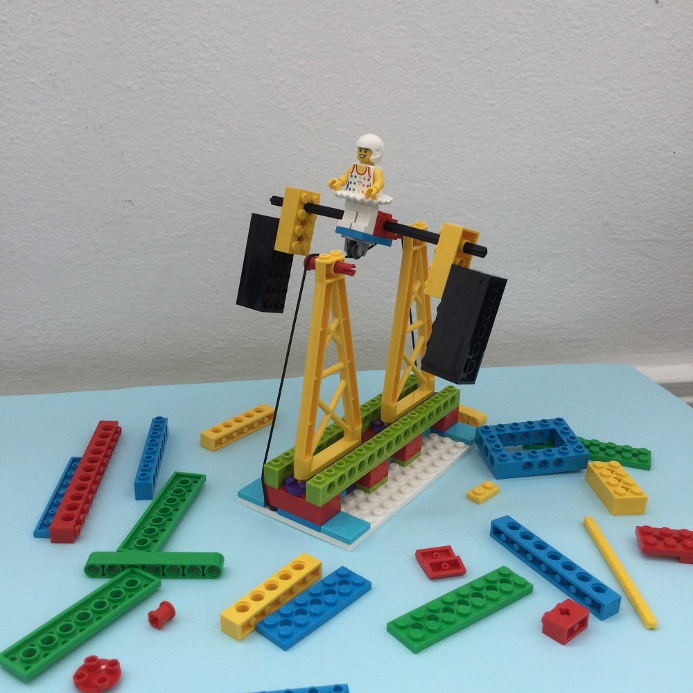 Built LEGO BricQ Model 4 on table