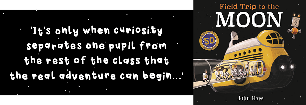 Quote from Field Trip to The Moon and book cover image