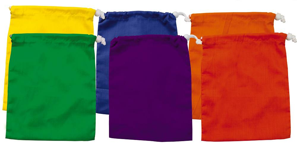 colourful selection of 6 drawstring bags