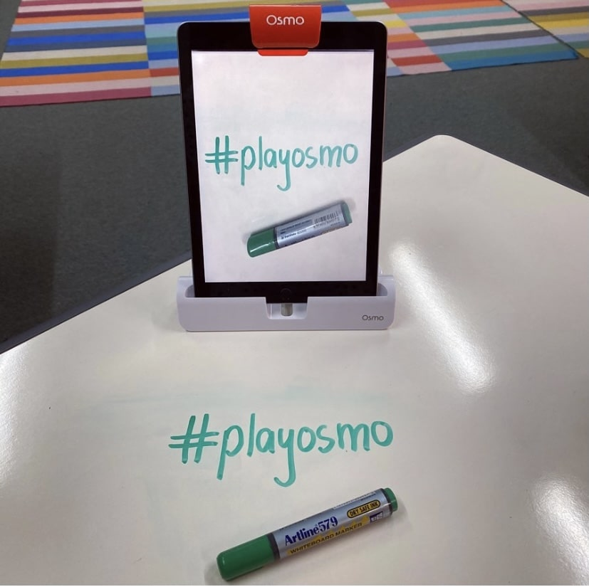 OSMO Projector app with Tablet on school desk
