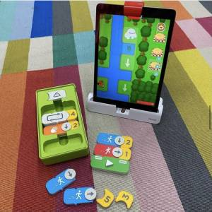 Osmo Coding Awbie Game and Tablet on carpet