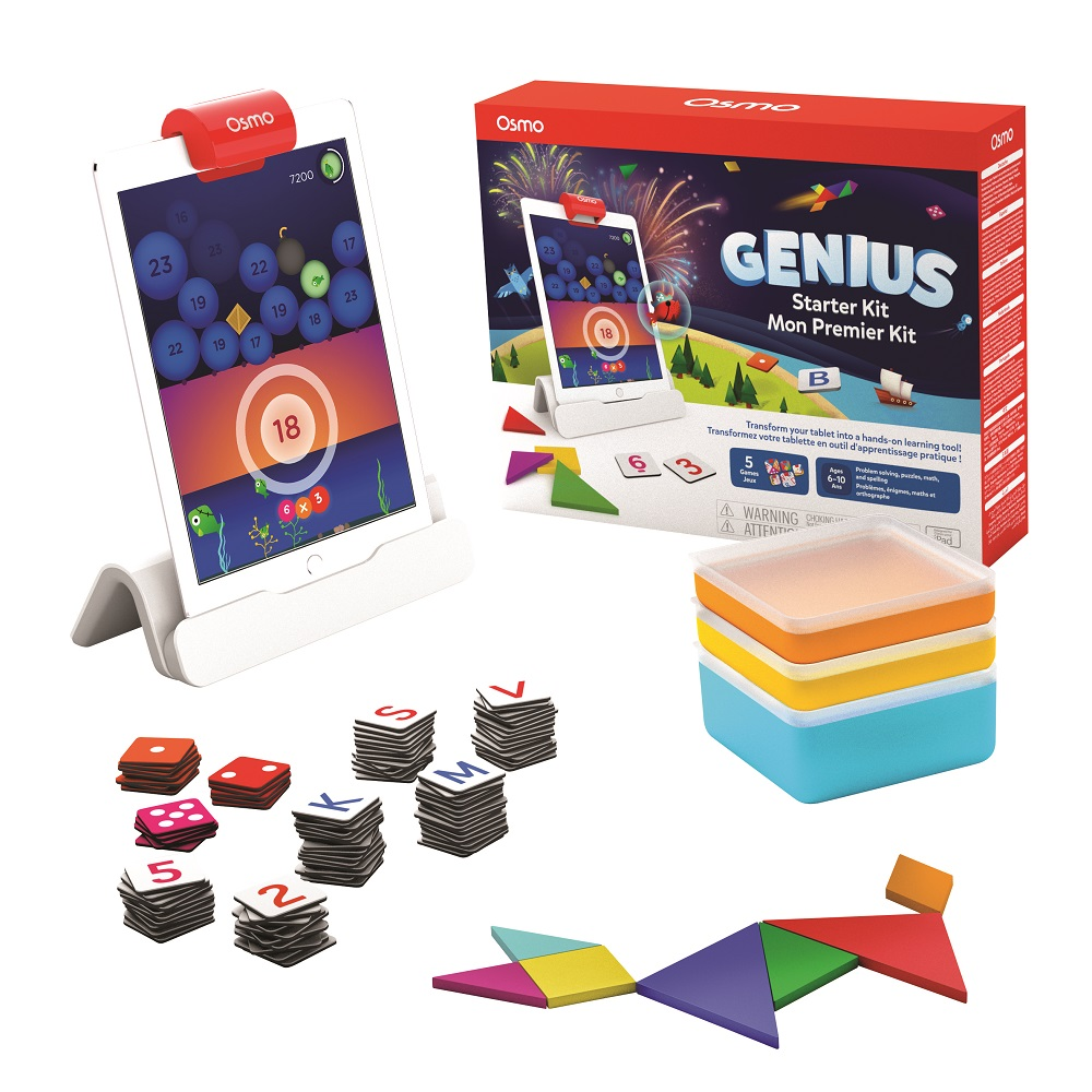 OSMO Starter Kit and tablet on white background