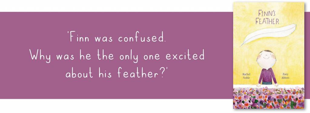 Finns Feather book and quote bannr